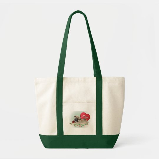 Pug Puppy Loves Mom Tote Bag