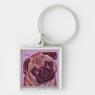 Pug Puppy Painted Portrait Keychain