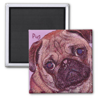 Pug Puppy Painted Portrait Magnet