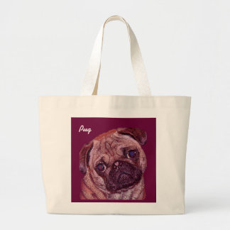 Pug Puppy Painted Portrait Tote Bags