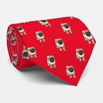 Pug Puppy Pattern Custom Background Color Neck Tie