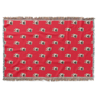 Pug Puppy Pattern Custom Background Color Throw Blanket