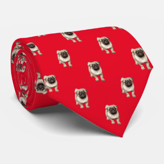 Pug Puppy Pattern Custom Background Color Tie
