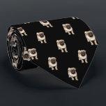 """Pug Puppy Pattern on Black Neck Tie<br><div class=""""desc"""">Pug Puppy Pattern on Black</div>"""