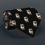 "Pug Puppy Pattern on Black Neck Tie<br><div class=""desc"">Pug Puppy Pattern on Black</div>"