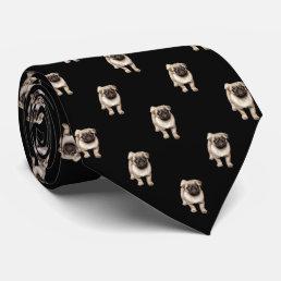 Pug Puppy Pattern on Black Neck Tie