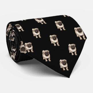 Pug Puppy Pattern on Black Neck Tie
