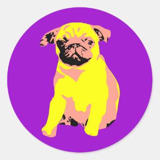 "Pug Puppy ""Puggy Love"" Classic Round Sticker"
