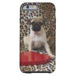 Pug puppy sitting against animal tough iPhone 6 case