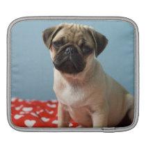 Pug puppy sitting on bed iPad sleeve