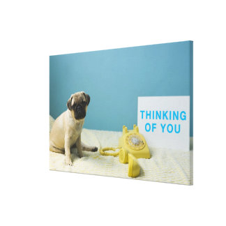 Pug puppy sitting on bed next to phone and canvas print