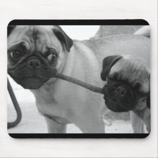 Pug Puppy Tug of War Mouse Pad