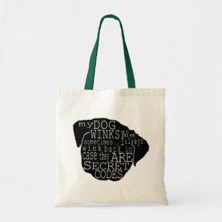 Pug Puppy Winks Secret Message Tote Bag
