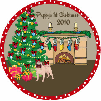 Pug Puppy's 1st Christmas Ornament 2010