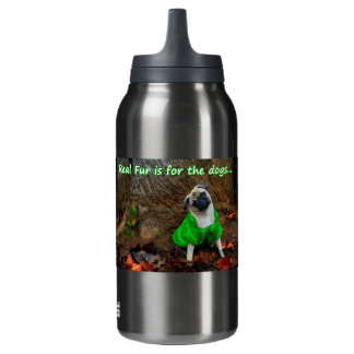 Pug - Real Fur is for the Dogs Insulated Water Bottle