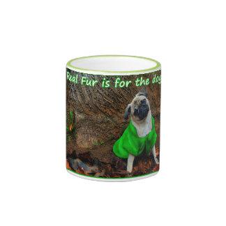 Pug - Real fur is for the dogs... Ringer Mug