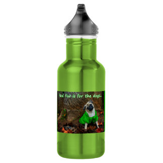 Pug - Real Fur is for the Dogs Stainless Steel Water Bottle