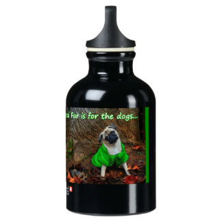 Pug - Real Fur is for the Dogs Water Bottle