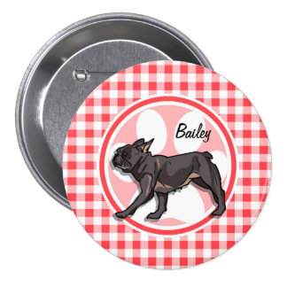 Pug; Red and White Gingham Buttons