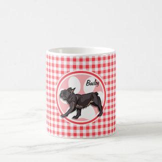 Pug; Red and White Gingham Classic White Coffee Mug