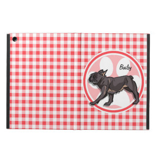 Pug; Red and White Gingham Cover For iPad Air