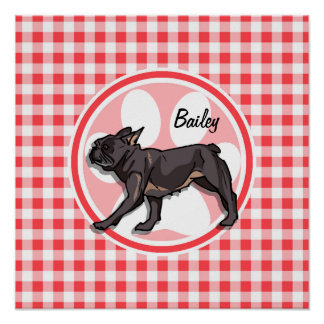 Pug; Red and White Gingham Posters