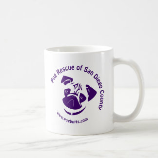 Pug Rescue Logo Purple Classic White Coffee Mug