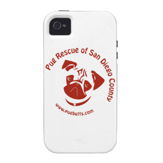 Pug Rescue of San Diego Co. Logo - Red iPhone 4 Cases