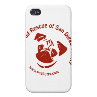 Pug Rescue of San Diego Co. Logo - Red iPhone 4/4S Cover