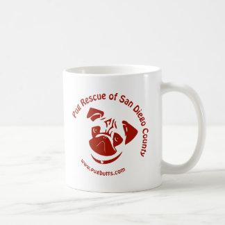 Pug Rescue of San Diego Co. Logo - Red Classic White Coffee Mug