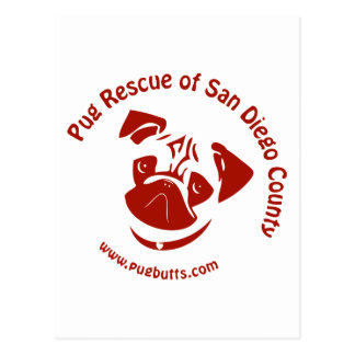 Pug Rescue of San Diego Co. Logo - Red Postcard