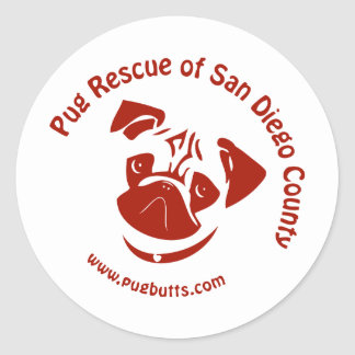 Pug Rescue of San Diego Co. Logo - Red Round Stickers