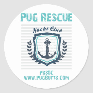 Pug Rescue of San Diego Co. Yacht Club Round Stickers