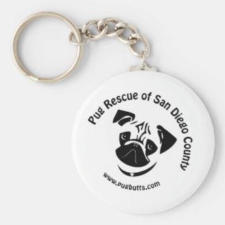 Pug Rescue of San Diego County Logo Keychain