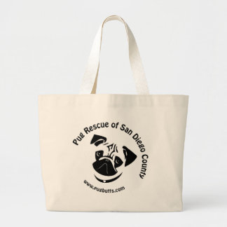 Pug Rescue of San Diego County Logo Large Tote Bag