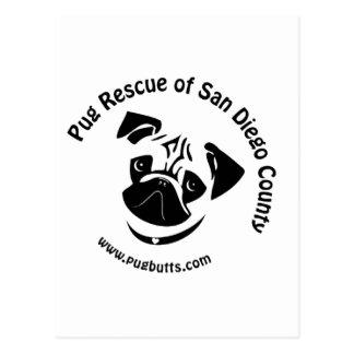 Pug Rescue of San Diego County Logo Postcard