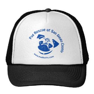 Pug Rescue San Diego County Logo - Blue Mesh Hats
