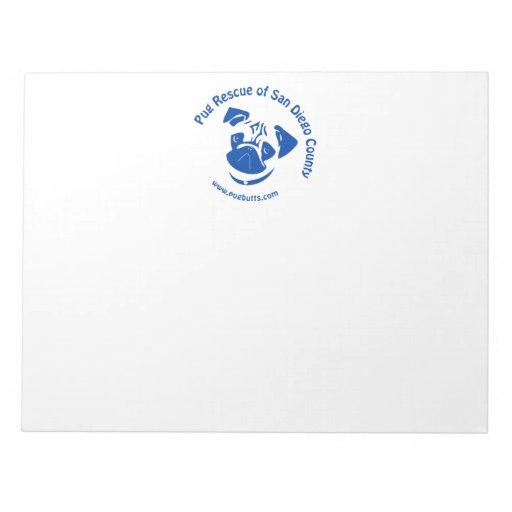 Pug Rescue San Diego County Logo - Blue Scratch Pads