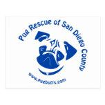 Pug Rescue San Diego County Logo - Blue Postcards