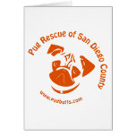 Pug Rescue San Diego Orange Logo Greeting Cards