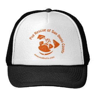 Pug Rescue San Diego Orange Logo Mesh Hats