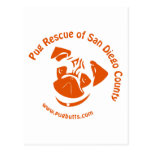 Pug Rescue San Diego Orange Logo Post Card