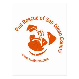 Pug Rescue San Diego Orange Logo Postcard
