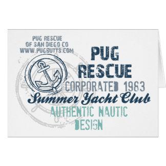Pug Rescue Summer Yacht Club Vintage Grunge Greeting Card