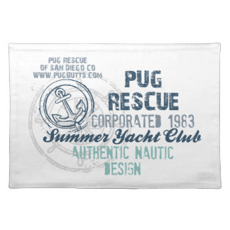 Pug Rescue Summer Yacht Club Vintage Grunge Cloth Placemat