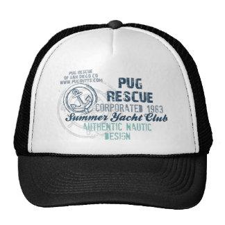 Pug Rescue Summer Yacht Club Vintage Grunge Hat