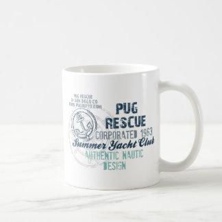 Pug Rescue Summer Yacht Club Vintage Grunge Classic White Coffee Mug