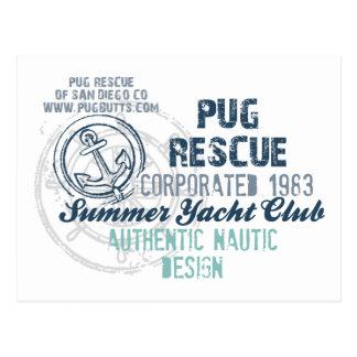 Pug Rescue Summer Yacht Club Vintage Grunge Postcard