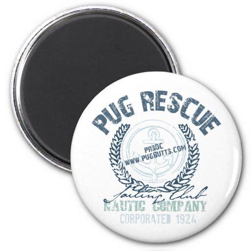 Pug Rescue Yacht Club Grunge Distressed Vintage 2 Inch Round Magnet