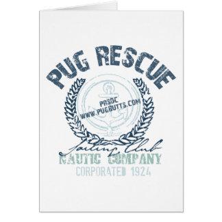 Pug Rescue Yacht Club Grunge Distressed Vintage Greeting Card